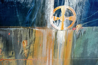 Photograph - Hull with rust and bow thruster symbol by Frans Blok