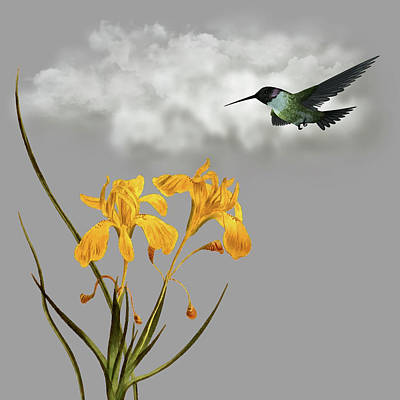 Bicycle Patents - Humming Bird In The Garden Pane 5 by David Dehner