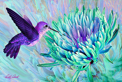 Thomas Kinkade - Hummingbird n Mum Cool Colors by Michele Avanti