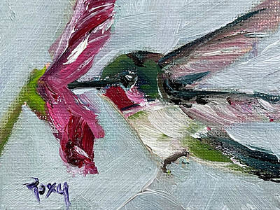 Painting - Hummingbird with Pink Flower by Roxy Rich