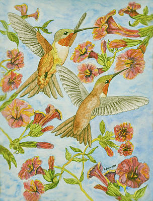 Curated Beach Towels - Hummingbirds and Hibiscus III  by Linda Brody
