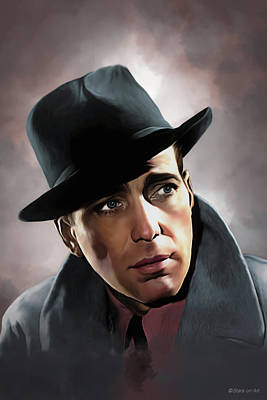 Digital Art - Humphrey Bogart illustration by Stars on Art