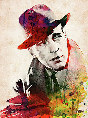 Pop Art Rights Managed Images - Humprey Bogart colorful watercolor portrait  Royalty-Free Image by Mihaela Pater