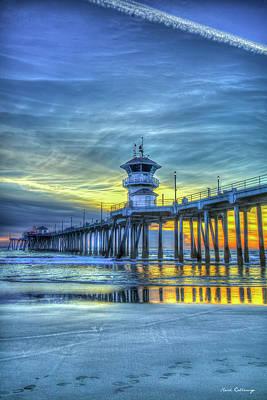 Water Droplets Sharon Johnstone - Huntington Beach Pier Sunset Reflections 4 California Surfing Mecca Seascape Art by Reid Callaway