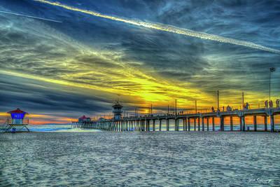 Water Droplets Sharon Johnstone - Huntington Beach Pier Sunset Reflections 8 California Surfing 7 Seascape Art by Reid Callaway