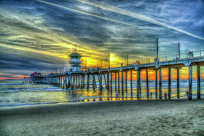Royalty-Free and Rights-Managed Images - Huntington Beach Pier Sunset Trails Architectural Seascape Art by Reid Callaway