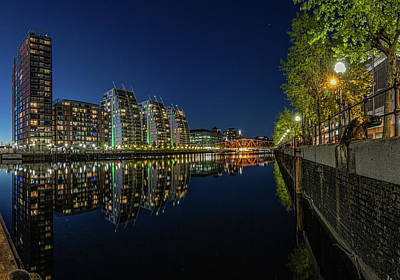 Outerspace Patenets Rights Managed Images - Huron Basin Salford Quays at Night Royalty-Free Image by Paul Madden