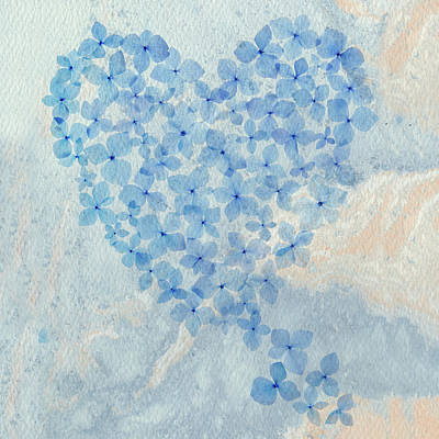 Shark Art - Hydrangea Heart Squared by Rebecca Cozart