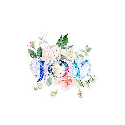 Painting - Hydrangea Roses Flowers Joy Typography by Georgeta Blanaru