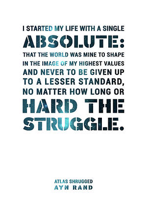 Featured Tapestry Designs - I started my life with a single absolute - Ayn Rand - Atlas Shrugged Quote 02 - Typographic Print by Studio Grafiikka