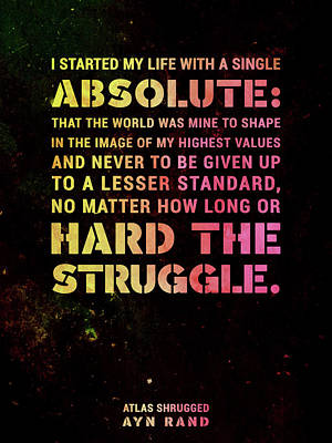 Featured Tapestry Designs - I started my life with a single absolute - Ayn Rand - Atlas Shrugged Quote 03 - Typographic Print by Studio Grafiikka