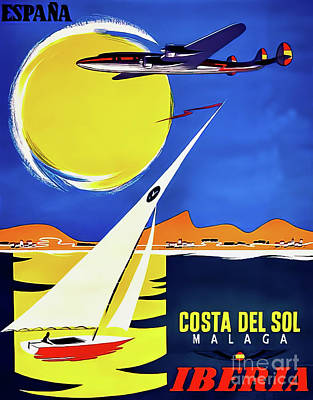 Typography Tees - Iberia Spain Travel Poster 1954 by Iberia