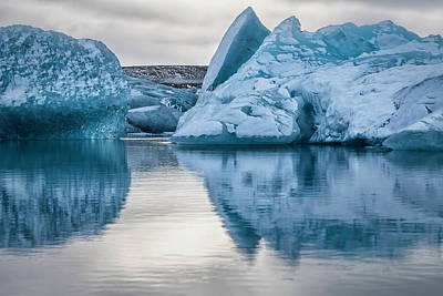 Classical Masterpiece Still Life Paintings - Iceland Glacier Lagoon II by Joan Carroll