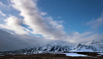 Photograph - Icelandic landscape with mountains covered in snow at snaefellsnes peninsula in Iceland by Michalakis Ppalis