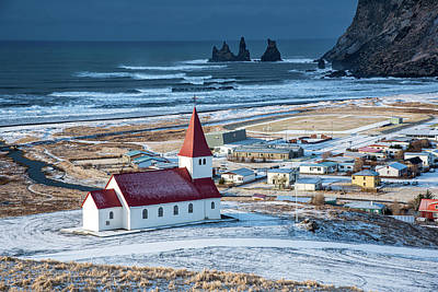 Design Pics - Icelandic village of Vik,  with the Myrdal  church at the top of by Michalakis Ppalis