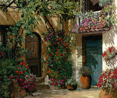 Tool Paintings - Fiori In Cortile by Guido Borelli