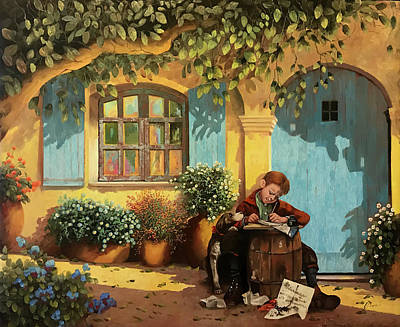Royalty-Free and Rights-Managed Images - Il Piccolo Scrivano E Il Suo Cane by Guido Borelli