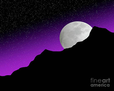 Polaroid Camera - Illustration of the full moon rising over hills and mountains by Timothy OLeary