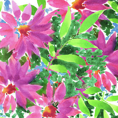 Royalty-Free and Rights-Managed Images - Impressionistic Flowerbed In Pink and Green Watercolor  by Irina Sztukowski