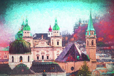 Comic Character Paintings - Impressions of Salzburg Austria  by Carol Japp