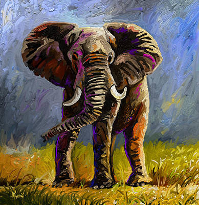 Animals Paintings - Impressive Jumbo by Anthony Mwangi