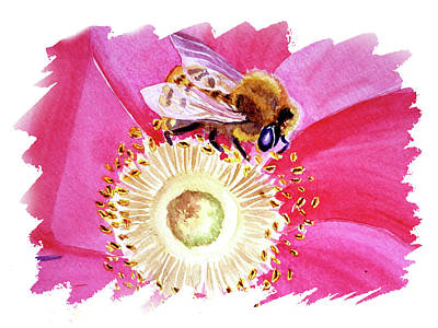 Popstar And Musician Paintings - Impulse Of Nature Watercolor Bee On Flower Free Brush Strokes III by Irina Sztukowski