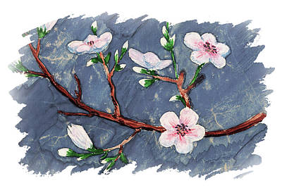 Popstar And Musician Paintings - Impulse Of Nature Watercolor Cherry Blossoms Free Brush Strokes IV by Irina Sztukowski