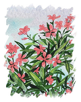 Popstar And Musician Paintings - Impulse Of Nature Watercolor Oleander Blossoms Free Brush Strokes V by Irina Sztukowski