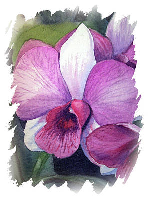 Popstar And Musician Paintings - Impulse Of Nature Watercolor Orchid Flower Free Brush Strokes VI by Irina Sztukowski