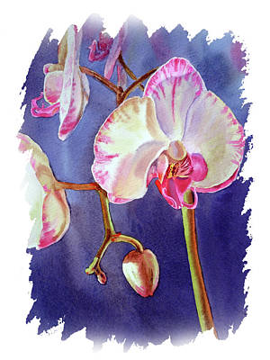 Popstar And Musician Paintings - Impulse Of Nature Watercolor Orchid Flower Free Brush Strokes VII by Irina Sztukowski