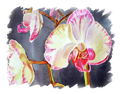 Popstar And Musician Paintings - Impulse Of Nature Watercolor Orchid Flower Free Brush Strokes VIII by Irina Sztukowski