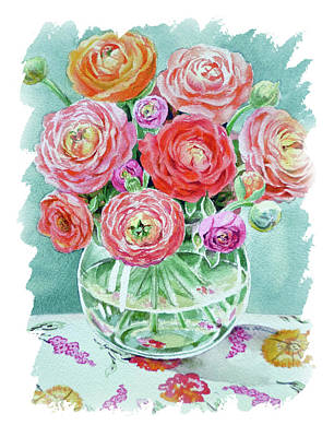 Popstar And Musician Paintings - Impulse Of Nature Watercolor Ranunculus Flower Free Brush Strokes X by Irina Sztukowski