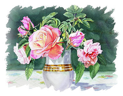 Popstar And Musician Paintings - Impulse Of Nature Watercolor Roses In Vase Bouquet Free Brush Strokes XI by Irina Sztukowski