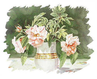 Popstar And Musician Paintings - Impulse Of Nature Watercolor Vintage Roses In Vase Bouquet Free Brush Strokes XII by Irina Sztukowski