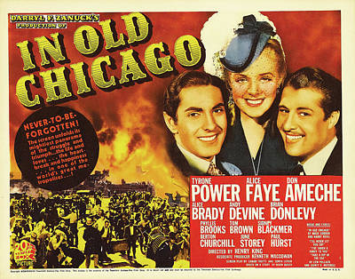 Mixed Media Royalty Free Images - In Old Chicago, with Tyrone Power and Alice Faye, 1937 Royalty-Free Image by Stars on Art