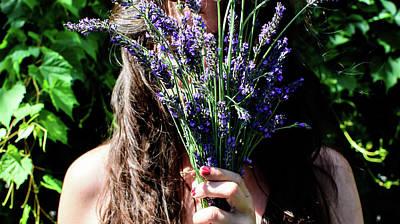 Caravaggio - In the Lavender Flowers portrait  by Mila Araujo