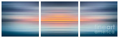 Curated Beach Towels - India Colors - Abstract Wide Oceanscape Triptych by Stefano Senise