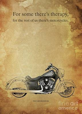 Animals Drawings - Indian Chief DARK HORSE 2016 motorcycles quote by Drawspots Illustrations