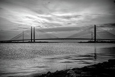 Pittsburgh According To Ron Magnes - Indian River Bridge Black and White Sunrise by Bill Swartwout