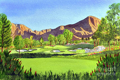 Sports Paintings - Indian Wells Golf Resort Celebrity Course 16th Hole by Bill Holkham