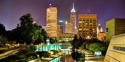 Royalty-Free and Rights-Managed Images - Indianapolis Skyline and Cityscape Panorama - Canal Walk View at Dusk by Gregory Ballos