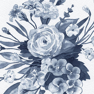 The Beach House - Indigo Blue Monochrome Floral Pattern Watercolor  by Irina Sztukowski
