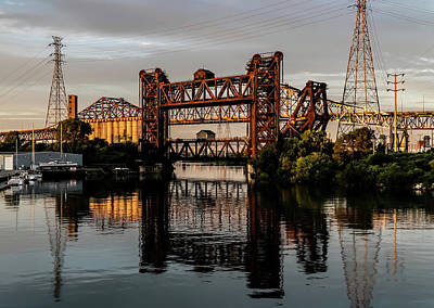 Santas Reindeers Royalty Free Images - Industrial Calumet River Sunrise Royalty-Free Image by Sven Brogren