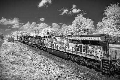 Vintage Automobiles - Infrared shot of CSX Q026 with CSXT 1776 Honoring our Veterans Unit at Mortons Gap KY by Jim Pearson