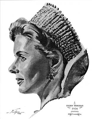 Drawings Royalty Free Images - Ingrid Bergman 2 by Volpe Royalty-Free Image by Stars on Art