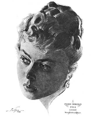 Drawings Royalty Free Images - Ingrid Bergman by Volpe Royalty-Free Image by Stars on Art