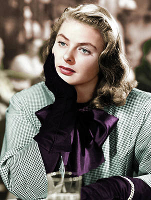 Mans Best Friend - Ingrid Bergman colorized by Stars on Art