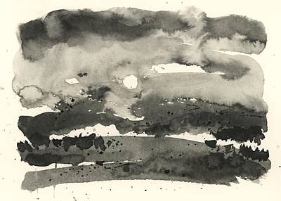 Red Roses - Inkwash Landscape 2 by Ferrilyn Sourdiffe