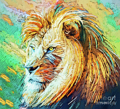 Abstract Oil Paintings Color Pattern And Texture - Intent Lion by Tina LeCour