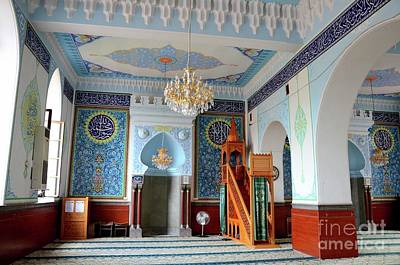 Abstract Airplane Art Rights Managed Images - Interior prayer area with blue calligraphy mihrab columns Jumah Central Mosque Tbilisi Georgia Royalty-Free Image by Imran Ahmed
